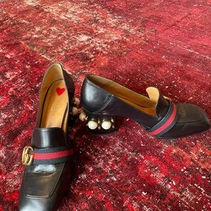 Gucci pearl loafer heels
